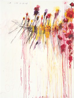 Cy Twombly, Coronation of Sesostris (Part V), 2000 Acrylic, wax crayon, and lead pencil on canvas, 81 × 61 ½ inches (206 × 156.5 cm)© Cy Twombly Foundation