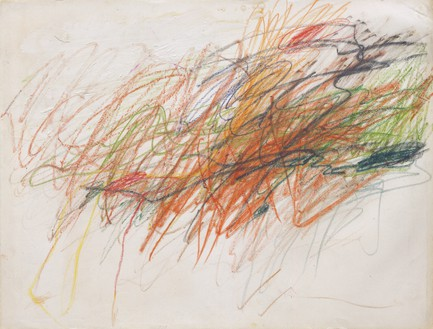 Cy Twombly, Untitled, 1954 Gouache, wax crayon, and colored pencil on paper, 19 ⅛ × 25 ¼ inches (48.5 × 64 cm)© Cy Twombly Foundation
