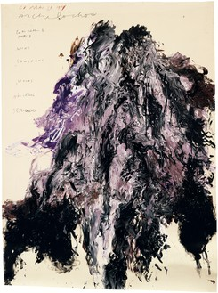 Cy Twombly, Untitled (Gaeta), 1989 Acrylic and tempera on paper mounted on wood panel, 80 × 58 ⅝ inches (203.2 × 148.9 cm)© Cy Twombly Foundation