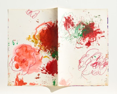 Cy Twombly, Untitled (In Beauty it is finished), 1983–2002 (detail) Acrylic, wax crayon, pencil, and pen on handmade paper in unbound handmade book, 36 pages, each page: 22 ⅜ × 15 ¾ inches (56.8 × 40 cm)© Cy Twombly Foundation