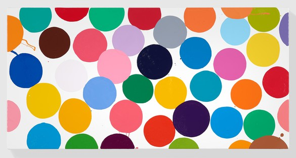Damien Hirst, Damson Mousse, 2016 Household gloss on canvas, 12 × 24 inches (30.5 × 61 cm)© Damien Hirst and Science Ltd. All rights reserved, DACS 2018