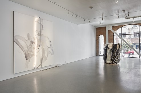 Installation view Artwork, left to right: © Mary Weatherford; © 2018 Fairweather & Fairweather LTD/Artists Rights Society (ARS), New York. Photo: Johnna Arnold