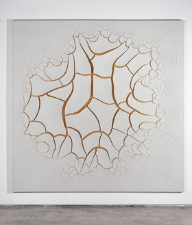 Adriana Varejão, Bone White Song, 2017 Oil and plaster on canvas, 70 ⅞ × 70 ⅞ inches (180 × 180 cm)© Adriana Varejão. Photo: Jaime Acioli