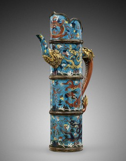 Ewer (duomuhu), late Ming dynasty (1368–1644) to early Qing dynasty (1644–1911)—17th century Gilt bronze and cloisonné enamel, height: 23 ⅞ inches (60.5 cm), width: 13 ¾ inches (35 cm)Provenance: Private Collection, Netherlands, purchased in 1928 from E. J. van Wisselingh & Co, AmsterdamPhoto: Frédéric Dehaen, Studio Roger Asselberghs