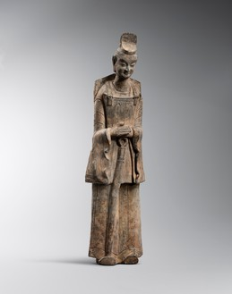Guardian figure, Northern Wei dynasty (386–534) Grey earthenware, height: 27 inches (68.6 cm)Provenance: Morse Collection prior to 1982Photo: Frédéric Dehaen, Studio Roger Asselberghs