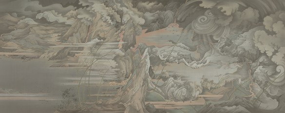 Hao Liang, Day and Night (Part II), 2017–18 Ink and color on silk, in 2 parts, 68 ⅛ × 173 ⅝ inches (173 × 441 cm)© Hao Liang