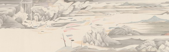 Hao Liang, Streams and Mountains without End, 2017 (detail) Ink and color on silk, 16 ¾ × 395 ¼ inches (42.4 × 1,004 cm)© Hao Liang