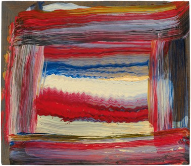 Howard Hodgkin, Knitting Pattern, 2015–16 Oil on wood, 13 ¼ × 15 ¼ inches (33.7 × 38.7 cm)© Howard Hodgkin Estate. Photo: Prudence Cuming Associates