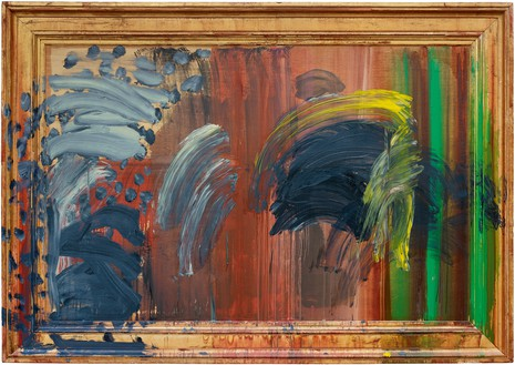 Howard Hodgkin, Portrait of the Artist Listening to Music, 2011–16 Oil on wood, 73 ¼ × 103 ¾ × 5 inches (186.1 × 263.5 × 12.7 cm)© Howard Hodgkin Estate