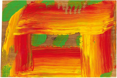 Howard Hodgkin, Through a Glass Darkly, 2015–16 Oil on wood, 10 ¾ × 16 ¼ inches (27.3 × 41.3 cm)© Howard Hodgkin Estate. Photo: Prudence Cuming Associates