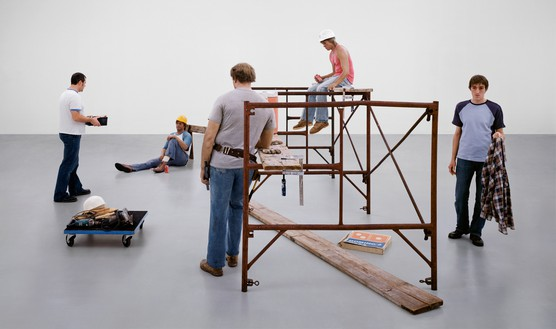"Sharon Lockhart, Lunch Break installation, ""Duane Hanson: Sculptures of Life,"" 14 December 2002–23 February 2003, Scottish National Gallery of Modern Art, 2003 (detail) Chromogenic print, in 4 parts, each: 72 × 121 inches (182.9 × 307.3 cm), the Broad, Los Angeles© Sharon Lockhart. Photo: courtesy the artist and Gladstone Gallery, New York and Brussels"