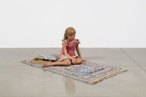 Installation view with Duane Hanson, Child with Puzzle (1978) © 2018 Estate of Duane Hanson/Licensed by VAGA at Artists Rights Society (ARS), New York. Photo: Jeff McLane