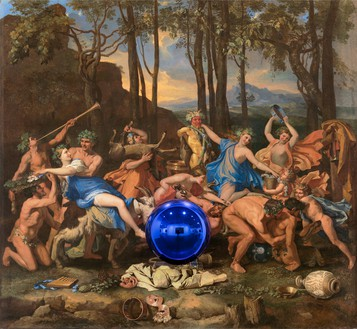 Jeff Koons, Gazing Ball (Poussin The Triumph of Pan), 2015–16 Oil on canvas, glass, and aluminum, 63 ½ × 68 ¼ × 14 ¾ inches (161.3 × 173.4 × 37.5 cm)© Jeff Koons