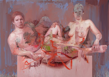 Jenny Saville, Vis and Ramin, 2018 Oil on canvas, 98 ½ × 137 ⅞ inches (250 × 350 cm)© Jenny Saville