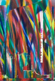 Katharina Grosse, Untitled, 2018 Acrylic on canvas, 86 ⅝ × 59 ⅛ inches (220 × 150 cm)© Katharina Grosse and VG Bild-Kunst Bonn, 2018. Photo: Jens Ziehe