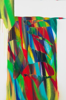 Katharina Grosse, Untitled, 2017 Acrylic on canvas, 114 ¼ × 76 inches (290 × 193 cm)© Katharina Grosse and VG Bild-Kunst Bonn, 2018. Photo: Jens Ziehe