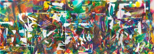 Katharina Grosse, Untitled, 2018 Acrylic on fabric, 17 feet 8 ⅝ inches × 68 feet 6 ⅞ inches × 8 feet 8 ⅜ inches (5.4 × 2.1 × 2.7 m)© Katharina Grosse and VG Bild-Kunst Bonn, 2018. Photo: Jens Ziehe
