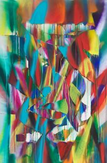 Katharina Grosse, Untitled, 2018 Acrylic on canvas, 104 ⅜ × 68 ⅞ inches (265 × 175 cm)© Katharina Grosse and VG Bild-Kunst Bonn, 2018. Photo: Jens Ziehe