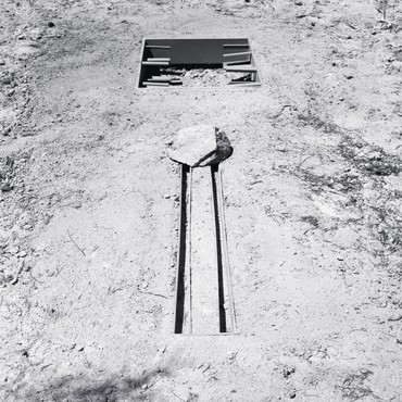 Michael Heizer, Ciliata 1968 (top), and Slot Mass, 1968 (bottom)