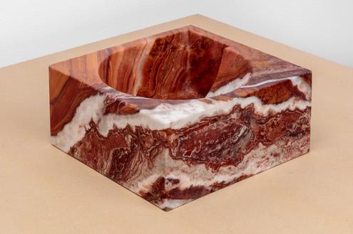 Piero Golia, Onice Rosso NAE Fruit Bowl, 2018 Onice Rosso marble, 5 × 10 ⅝ × 11 inches (12.5 × 27 × 28 cm)© Piero Golia. Photo: Joshua White