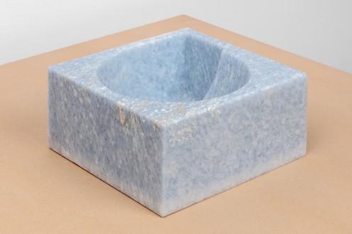 Piero Golia, Azul Cielo NAE Fruit Bowl, 2018 Azul Cielo marble, 5 × 10 ⅝ × 11 inches (12.5 × 27 × 28 cm)© Piero Golia. Photo: Joshua White