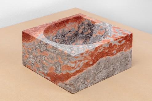Piero Golia, Rosso Francia NAE Fruit Bowl, 2018 Rosso Francia marble, 5 × 10 ⅝ × 11 inches (12.5 × 27 × 28 cm)© Piero Golia. Photo: Joshua White