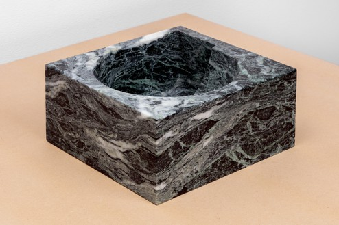 Piero Golia, Verde Alpi NAE Fruit Bowl, 2018 Verde Alpi marble, 5 × 10 ⅝ × 11 inches (12.5 × 27 × 28 cm)© Piero Golia. Photo: Joshua White