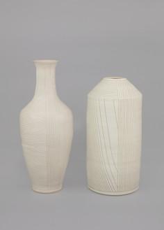 Shio Kusaka, (line 55), 2017 (left), and (line 67), 2017 (right) Stoneware, line 55: 27 × 11 ¼ × 11 ¼ inches (68.6 × 28.6 × 28.6 cm); line 67: 23 ¾ × 11 ¾ × 11 ¾ inches (60.3 × 29.8 × 29.8 cm)© Shio Kusaka. Photo: Brian Forrest