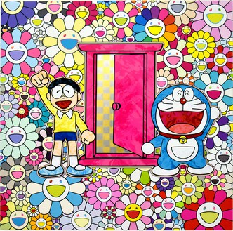 Takashi Murakami, We Came to the Field of Flowers Through Anywhere Door (Dokodemo Door)!, 2018 Acrylic on canvas mounted on aluminum frame, 47 ¼ × 47 ¼ inches (120 × 120 cm)© 2018 Takashi Murakami/Kaikai Kiki Co., Ltd. All rights reserved