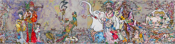 Takashi Murakami, One encounters a multitude of hardships and disasters along the way to the netherworld, yet this process allows one to take the proper form of a human being and thus attain Buddhahood, 2018 Acrylic on canvas mounted on aluminum frame, 78 ¾ × 315 inches (200 × 800 cm)© 2018 Takashi Murakami/Kaikai Kiki Co., Ltd. All rights reserved