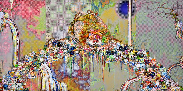 Takashi Murakami, The Lion of the Kingdom that Transcends Death, 2018 Acrylic on canvas mounted on aluminum frame, 59 ⅛ × 118 ⅛ inches (150 × 300 cm)© 2018 Takashi Murakami/Kaikai Kiki Co., Ltd. All rights reserved