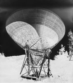 Vera Lutter, Radio Telescope, Effelsberg, XVII: September 16, 2013, 2013 Gelatin silver print, 95 ⅛ × 84 inches (241.6 × 213.4 cm), unique print© Vera Lutter