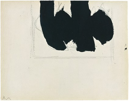 Robert Motherwell, Open with Elegy, 1968 Acrylic and graphite on Arches watercolor rag paper, 6 × 7 ⅝ inches (15.2 × 19.4 cm)© 2019 Dedalus Foundation, Inc./Licensed by VAGA at Artists Rights Society (ARS), New York