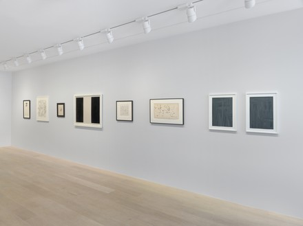 Installation view Artwork, left to right: © Estate of Sam Francis/Artists Rights Society (ARS), New York/DACS, London; © 2019 Christine Hiebert; © 2019 The Franz Kline Estate/Artists Rights Society (ARS), New York; © Brice Marden; © 2019 Bruce Conner/Artists Rights Society (ARS), New York; © 2019 Dedalus Foundation, Inc./Licensed by VAGA at Artists Rights Society (ARS), New York; © Estate Günther Förg