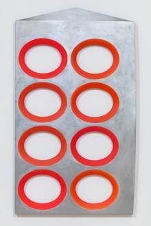 Blair Thurman, Creamy Tomato, 2017 Acrylic on canvas on wood, 59 ⅝ × 34 ⅞ × 1 ½ inches (151.4 × 88.6 × 3.8 cm)© Blair Thurman