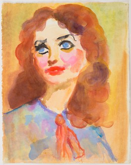 John Currin, Untitled, 1995 Watercolor on paper, 14 × 11 inches (35.6 × 27.9 cm)© John Currin