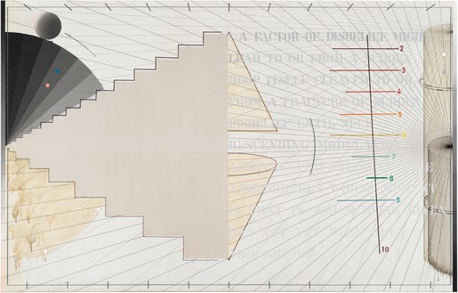Arakawa, That in Which No. 2, 1974–75 Acrylic, graphite, and marker on canvas, 65 × 102 inches (165.1 × 259.1 cm)© Estate of Madeline Gins. Reproduced with permission of the Estate of Madeline Gins
