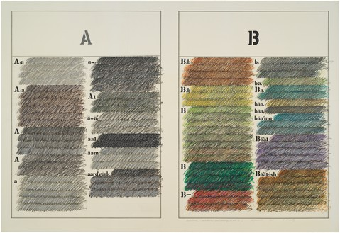 Arakawa, Untitled (Webster's Dictionary A & B), 1965 Acrylic, graphite, and marker on canvas, 66 × 95 inches (167.6 × 241.3 cm)© Estate of Madeline Gins. Reproduced with permission of the Estate of Madeline Gins