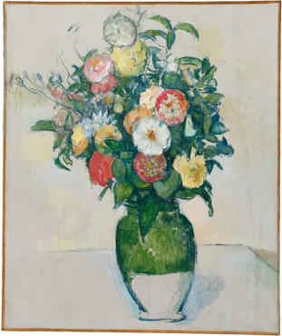 Painting by Paul Cézanne depicting vase with flowers in bloom.