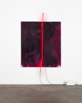 Mary Weatherford, Ruby, Ruby, 2019 Flashe and neon on linen, 84 ½ × 58 inches (214.6 × 147.3 cm)© Mary Weatherford