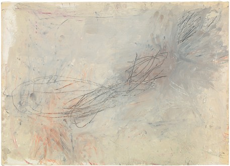 Cy Twombly, Untitled, 1957 Oil-based house paint, wax crayon, lead pencil, and pastel on paper, laid down on canvas, 19 1⁄2 × 27 1⁄2 inches (49.5 × 69.9 cm)© Cy Twombly Foundation