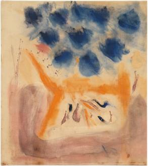 Helen Frankenthaler, With Blue, 1953 Oil on linen, 35 × 31 inches (88.9 × 78.7 cm)© 2019 Helen Frankenthaler Foundation, Inc./Artists Rights Society (ARS), New York