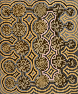 Ronnie Tjampitjinpa, Tarkulnga, 1988 Synthetic polymer paint on linen, 71 ¾ × 59 ¾ inches (182.2 × 151.8 cm)© Ronnie Tjampitjinpa. Photo: Rob McKeever