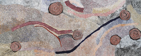 Bill Whiskey Tjapaltjarri, Rockholes and Country near the Olgas, 2008 Synthetic polymer paint on linen, 79 × 195 ½ inches (200.7 × 496.6 cm)© Bill Whiskey Tjapaltjarri