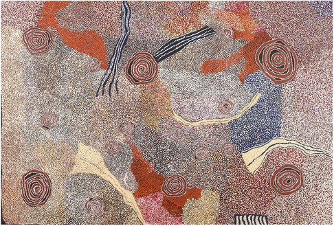 Bill Whiskey Tjapaltjarri, Rockholes and Country Near the Olgas, 2007 Synthetic polymer on Belgian linen, 80 ¾ × 118 ⅛ inches (205 × 300 cm)© Bill Whiskey Tjapaltjarri. Photo: Rob McKeever