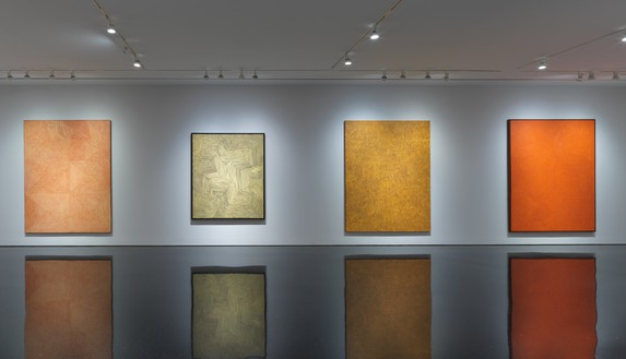 Installation view Artwork, left to right: © George Tjungurrayi/Copyright Agency. Licensed by Artists Rights Society (ARS), New York, 2019; © Warlimpirrnga Tjapaltjarri/Copyright Agency. Licensed by Artists Rights Society (ARS), New York, 2019; © Yukultji Napangati/Copyright Agency. Licensed by Artists Rights Society (ARS), New York, 2019; © George Tjungurrayi/Copyright Agency. Licensed by Artists Rights Society (ARS), New York, 2019. Photo: Rob McKeever