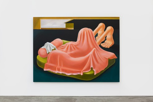 Louise Bonnet, Interior with Pink Blanket, 2019 Oil on linen, 72 × 96 inches (182.9 × 243.8 cm)© Louise Bonnet