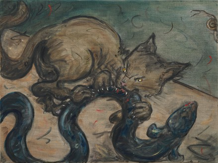 Tanya Merrill, Cat with Eel and Snail, 2019 Oil on linen, 18 × 24 inches (45.7 × 61 cm)© Tanya Merrill. Photo: Rob McKeever