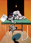 Painting depicting two intertwined figures on table with monkey in foreground.