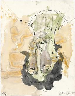 Georg Baselitz, N. E., 2018 India ink and watercolor on paper, 26 × 20 ⅛ inches (66.1 × 51 cm)© Georg Baselitz. Photo: Jochen Littkemann